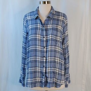 {Lucky Brand} Blue Plaid Button Down Top Sz Large
